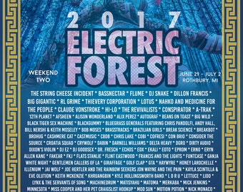 Electric Forest 2017 Lineup Poster (Weekend 2)
