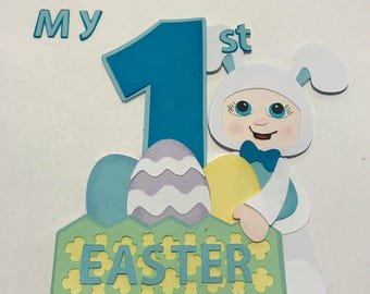 Baby's First Easter  boy bunny with basket premade paper piecing  3D DIE CUT