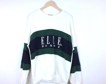 Vintage Elle Homme Sweatshirt / Elle Paris / Elle Big Logo / Elle Hoodie / Elle Shirt / Elle Jacket