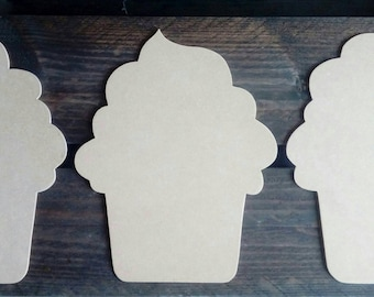 Cupcake wood medium scalloped painting silhouettes