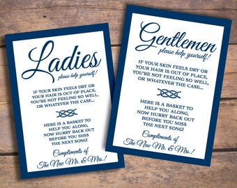 Nautical Wedding Bathroom Basket Signs for Ladies and Gentlemen