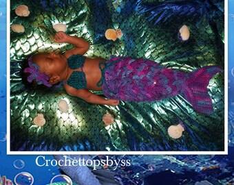 Photography Mermaid Prop Set/Infant Girls' Mermaid Prop Set/Crochet Mermaid Tail