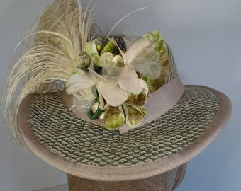 1860's Green Tweed Riding Hat with long Ostrich Feather