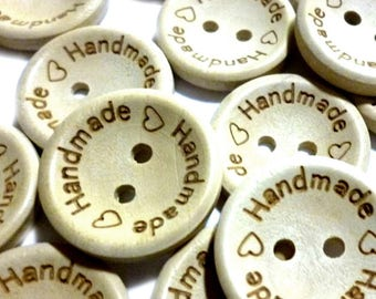 """Wooden Buttons, Marked """"Handmade"""" Buttons, Natural Wood, Real Wood, 15mm Diameter, 5/8"""" Diameter, Pyrographed - Lots of Ten or Fifty - H581"""