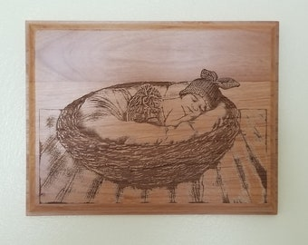 Photograph Engraved on Wooden Plaques- Photography Gifts, Newborn Gifts, Engraved products Engraving services