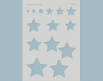"""Template / stencil """"6515 Star"""" for E.g. DIY projects, textile design, mixed media, scrapbooking, decoration, canvas, art journaling..."""