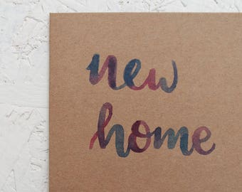New Home - Hand drawn Mini Brown Card
