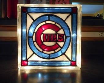 Chicago Cubs Baseball Reclaimed Glass Block Light/Nightlight Leaded Stained Glass