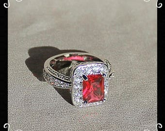 Silver Plated Red & Colorless CZ Ring