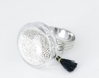 Ring dome micro beads and tassel