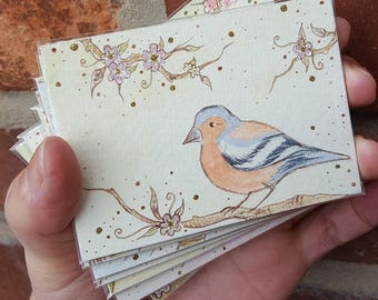 """Chaffinch #1 with flowers, ACEO (3.5"""" x 2.5""""), Artist Trading Card, original ink and watercolour painting"""