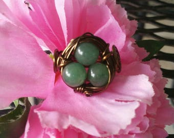Wire wrapped copper and gemstone birds nest ring size 6 1/2