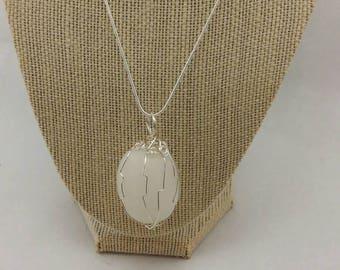 White quartz polished wire wrapped pendant