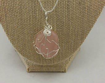 Rose quartz wire wrapped pendant