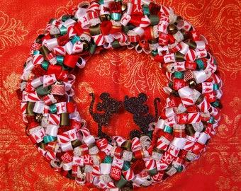 Christmas Kiss - Handmade Ribbon Wreath
