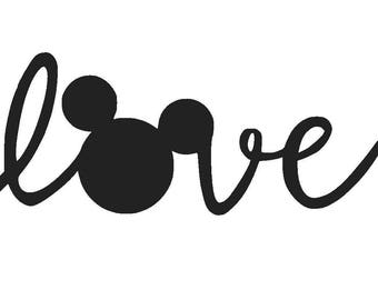 Love Mickey Mouse Vinyl Decal | Disney Decal | Yeti Cup | Car Window Sticker | Laptop | Mickey Mouse Ears | Love | Mickey Head