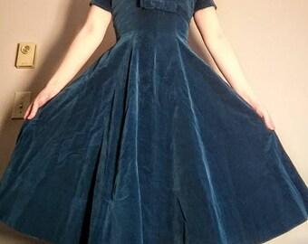 Homemade 50s Teal Velvet Pin-Up Swing Dress, 50s Teal Cocktail Dress, Rockabilly Dress, Size S/XS