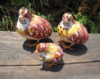 Craft Three Partridges Birds for Wreath or Bird Cage Fabric Birds