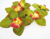 "11 Orchids Artificial Silk Flowers Green Orchids Measuring 6.3"" Floral Hair Accessories Flower Supplies Faux Fabric DIY Wedding"