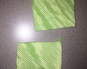 lime green double sided crochet pot holders / hot pad