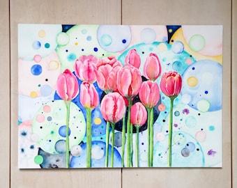 Tulip Dreams No. 2   original watercolour, turquoise, floral watercolor, botanical watercolor, gallery wall, fantasy art, dream world