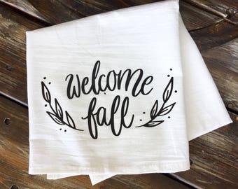 Welcome Fall Tea Towel | Fall decor | Kitchen Towel | Farmhouse Kitchen | Tea Towel | Farmers Market |  Fall Tea Towel