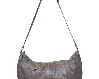 Hot Sale!!! Rare Authentic TSUMORI CHISATO CARRY Glen Plaid Check Shoulder Bag Leather & Canvas Medium Size