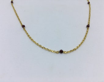 Garnet stone NECKLACE / gold plated