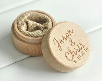 Personalized Rustic Wedding Wood Ring Box Holder Custom Your Names and Date Wedding Ring Bearer Box Free Shipping