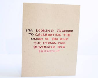 Funny Engagement Card / Engagement Greeting Card / Real Foil Card / Funny Wedding Card / Snarky Engagement Card / Sarcastic Wedding Card