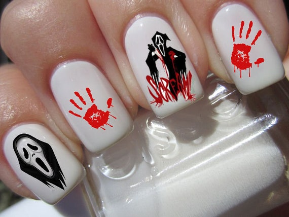 halloween nail art set x 20 horror movie scream decals water transfer decals stickers manicure set h3 from on etsy studio