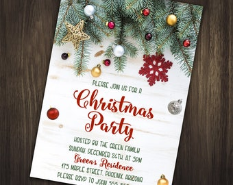 Christmas Party Invitation, Christmas Invitation, Rustic Christmas Invitation, Holiday Party Invitation, Rustic Winter Invitation, Printable