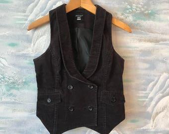 Vintage Brown Velvet Vest Womens Elegant Velvet Vest Size Medium Classic Velvet Vest  Velvet Waistcoat