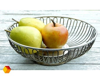 Alfra Alessi stainless steel wire basket fruit basket made of polished stainless steel 18/10 Italy vintage second hand vegetable basket sixties seventies