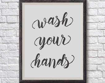 Bathroom Signs Wash Your Hands bathroom wall art printable art wash hands sign wash your