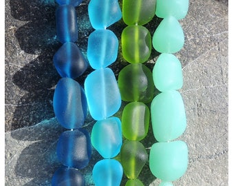 Sea glass nuggets beads, freeform beads, recycled glass 10-15mm, 7 pcs