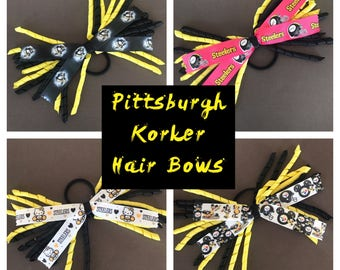 Pittsburgh Hair Bows, steelers hair bows, penguins hair bows