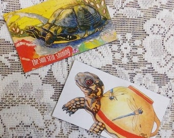 Turtle Magnets, turtle art, tea cup art, whimsical turtles, dragonfly teacup, 2 magnet set
