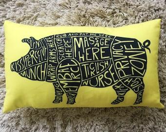 """Piggy Parts // 13"""" x 21"""" Throw Pillow"""