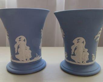 Wedgewood Jasper Ware. A Pair of 1970 Wegdgewood Jasper Ware Small Cameo Vases.  Blue 1970 Jasperware Vases. Wedgewood Vases.