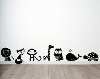 Animals Set of Seven Vinyl Decal Stickers Cute Kids Room Decor
