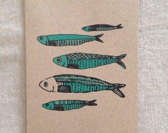 Fish Green Card, greeting card, blank card, kraft paper, rustic card, raw, any occasion card, organic card, nature, sea creature card