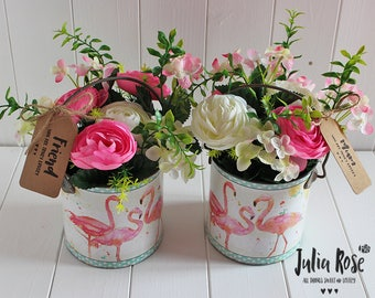 Floral Artificial Flower Arrangement Flamingo Bucket For Home Gift Shabby Chic - Special Occasion -