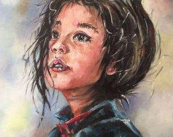 Girl portrait, oil on canvas, 30X30cm