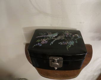 Vintage Black Lacquer Oriental Jewelry Box,  mother of pearl birds w/free ship.