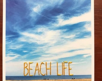 Beach Life - Mixed Media Hand Embroidered Photograph