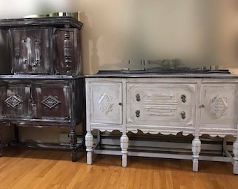 Antique jacobean dining hutch and buffet