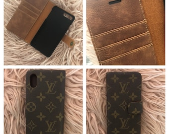 Louis Vuitton Phone Wallet with GENUINE LEATHER Interior Upcycled using authentic LV monogram canvas IPhone X 8 Plus 7 6 Samsung Galaxy Edge