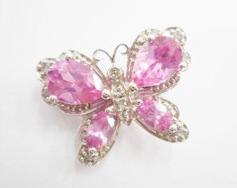 Butterfly Pendant, Pink Sapphire, Gold Pendant, Vintage Pendant, 10k White Gold 2.45 TCW Pear Pink Sapphire Diamond Butterfly Pendant #3120