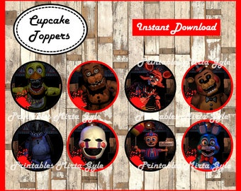 Five Nights at Freddys cupcakes toppers, printable FNaF party toppers, Five Nights at Freddy's cupcakes toppers
